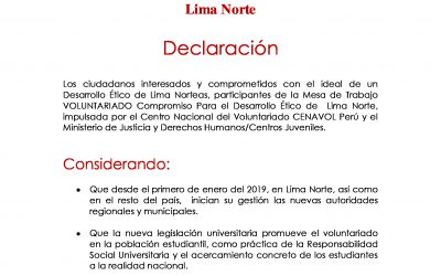 Compromiso Para el Desarrollo Ético de  Lima Norte – Declaración